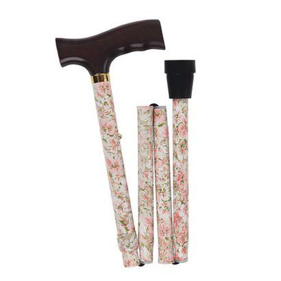 Mabis Healthcare Adjustable Folding Cane - Beige Floral