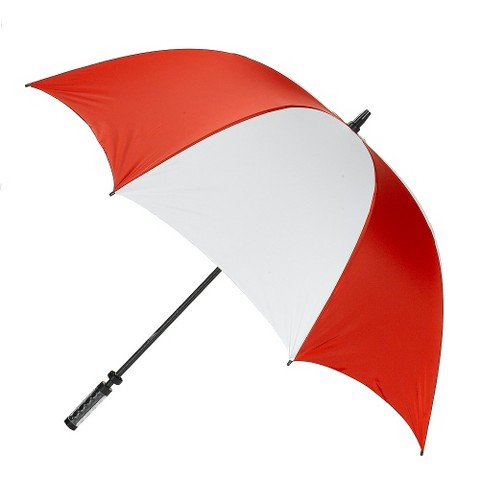 Manual Golf Umbrella with ID Handle - Red/ White