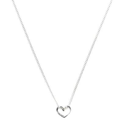 "Sterling Silver Open Heart Slide Pendant Necklace- 15"""