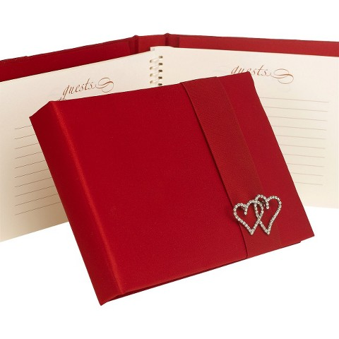 With All My Heart Wedding Guest Book - Red
