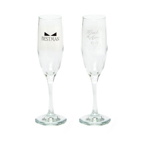 """Maid of Honor"" and ""Best Man"" Wedding Champagne Flute Set"