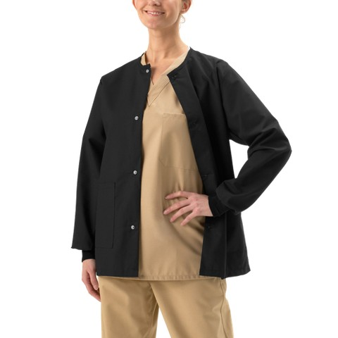 Medline Unisex Snap Front Warm-Up Jacket with Two Pockets - White