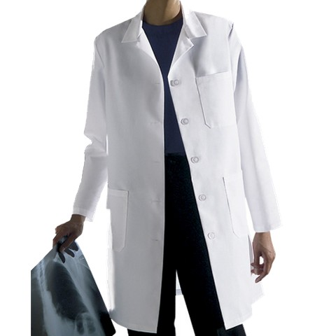 Medline White Ladies Staff Length Lab Coat