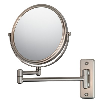 """Mirror Image Double Arm Wall Mirror 7.75"""" Brushed Nickel"""