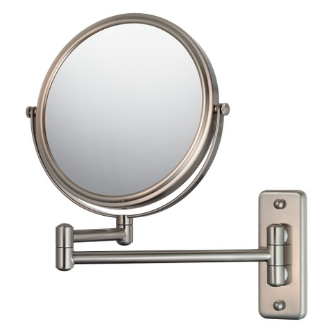 "Mirror Image Double Arm Wall Mirror 7.75"" Brushed Nickel"