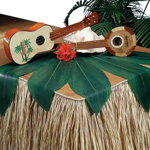 Natural Raffia Table Skirt for Hawaiian Luau Tropical Parties