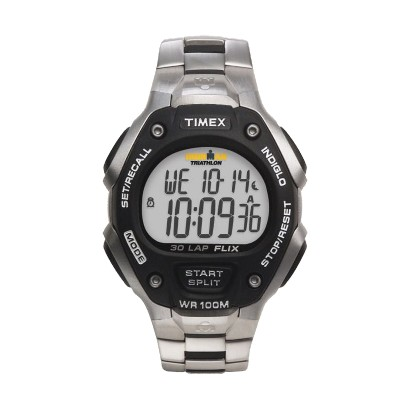 Men's Timex® Full 30-Lap Memory Watch with FLIX System -Silver/Black