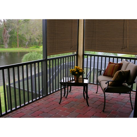 Radiance Imperial Outdoor Patio Matchstick Roll-Up Blind - Natural
