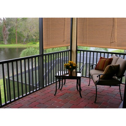 Outdoor Patio Radiance Imperial Matchstick Natural Roll-Up Blind