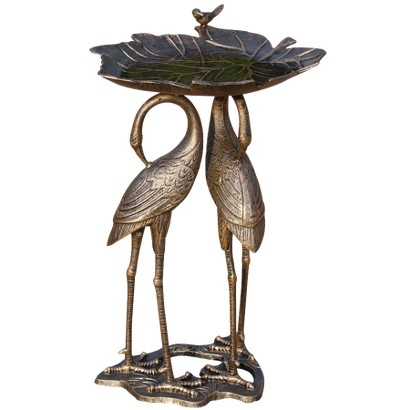 Two Cranes with Lily Pad Birdbath