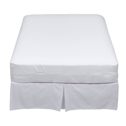 "9"" Stretch Knit Twin XL Zip Allergy Mattress Cover - White"
