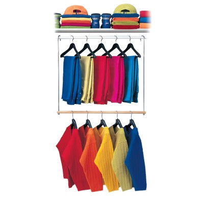 Lynk Double Hang Closet Rod Organizer - Clothing Hanging Bar - Chrome/Wood