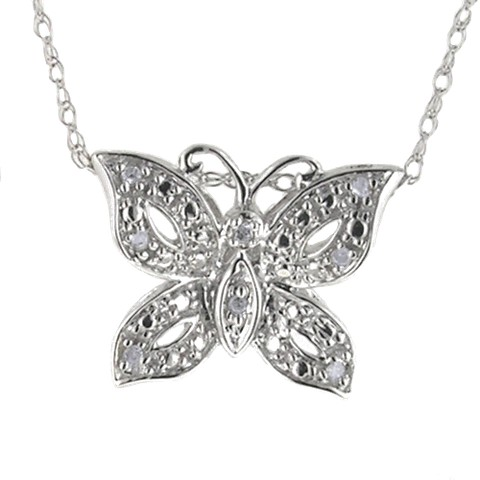 "Butterfly Pendant Necklace with Diamond Accents in 10K White Gold (18"")"