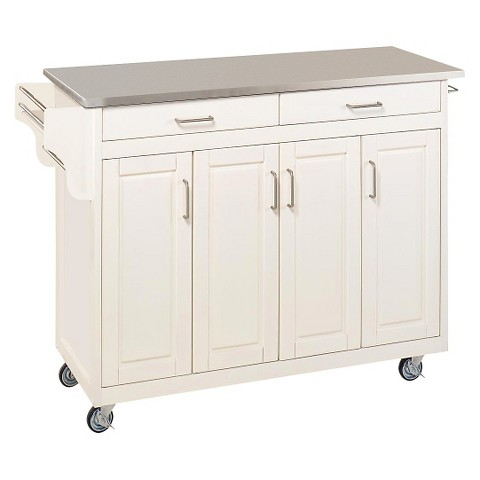 Home Styles Kitchen Cart with Stainless Steel Top - White