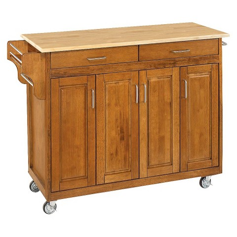 Kitchen cart with wood top wood cottage oak natu target - Target kitchen cart ...