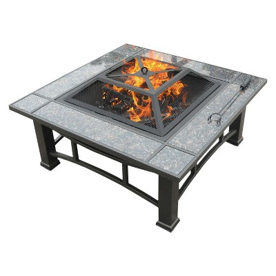 leisurelife™ Square Fire Pit with Granite Surround and Cover - 34""