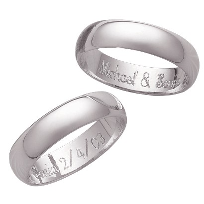 Sterling Silver Personalized Internal Message 5mm. Polished Band