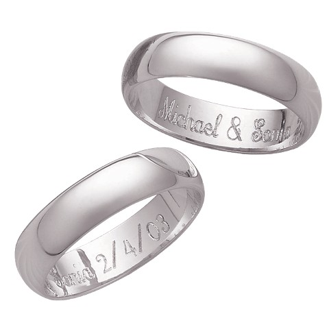 Sterling Silver Polished Band with Personalized Internal Message (5mm)