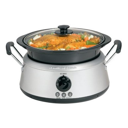 Hamilton Beach Stainless 3-in-1 Slow Cooker with Black Bowls