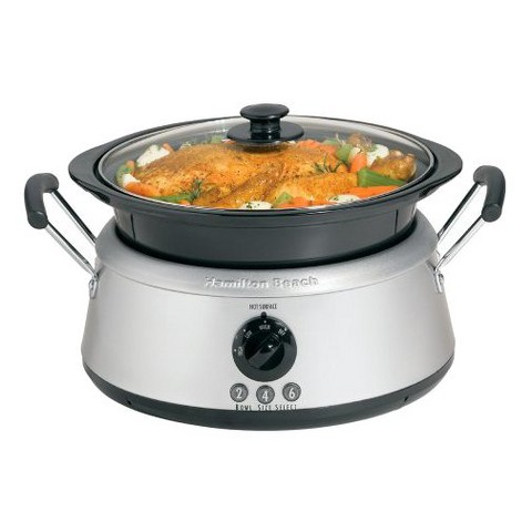 Hamilton Beach Stainless 3-in-1 Slow Cooker with Black Bowls- 33135