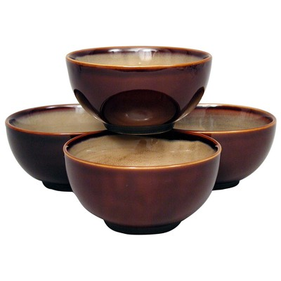 Sango Nova 16oz Stoneware Bowls Bowls Brown - Set of 4