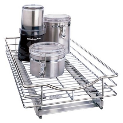 Lynk Professional Roll Out Cabinet Organizer - Pull Out Under Cabinet Sliding Shelf - 11 inch wide x 18 inch deep  - Chrome