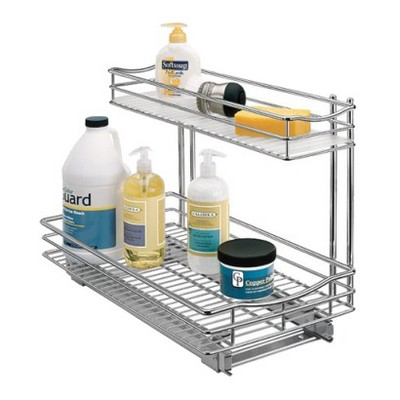 Lynk Professional Roll Out Under Sink Cabinet Organizer - Pull Out Two Tier Sliding Shelf - 11.5 in. wide x 18 inch deep - Chrome