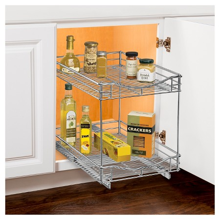 Lynk professional roll out double shelf pull out two for Kitchen cabinets 14 inches deep