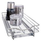 """Lynk 11""""w x 21""""d Professional Roll-Out Drawer Cabinet Organizer - Chrome"""