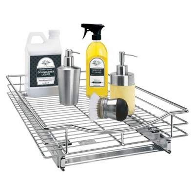 Lynk Professional Roll Out Cabinet Organizer - Pull Out Under Cabinet Sliding Shelf - 14 inch wide x 21 inch deep - Chrome