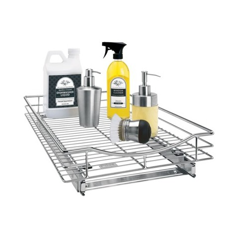 "Lynk 14""w x 21""d Professional Roll-Out Drawer Cabinet Organizer - Chrome"