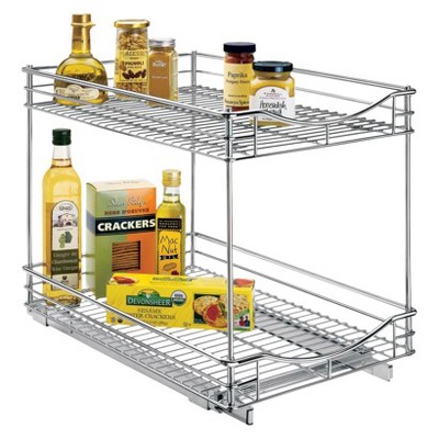 Lynk Professional Roll Out Double Shelf - Pull Out Two Tier Sliding Under Cabinet Organizer - 14 inch wide x 21 inch deep - Chrome