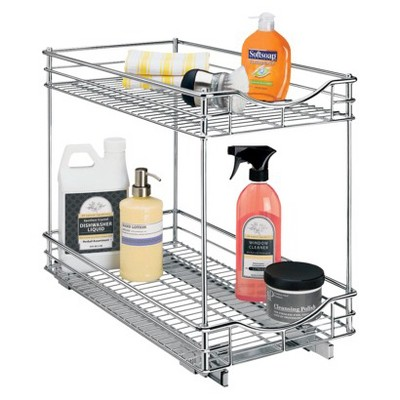 Lynk Professional Roll Out Double Shelf - Pull Out Two Tier Sliding Under Cabinet Organizer - 11 inch wide x 18 inch deep - Chrome