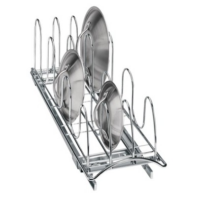 Lynk Professional Roll Out Pan Lid Holder - Pull Out Kitchen Cabinet Organizer Rack - 7.25 inch wide x 21 inch deep - Chrome