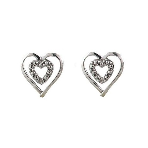 10K White Gold Double Heart Shaped Earrings with Accent Diamond - Silver