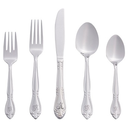 46pc Rose Personalized Flatware Set