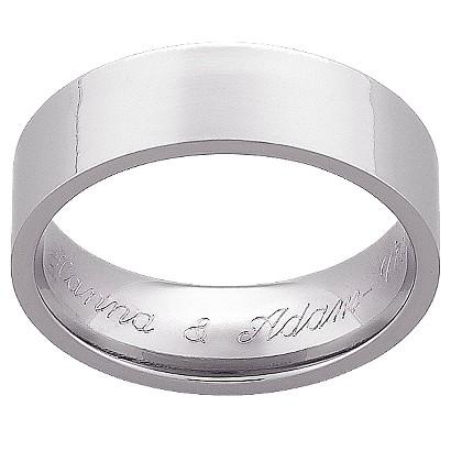 Personalized Titanium 7mm Flat Engraved Wedding Band