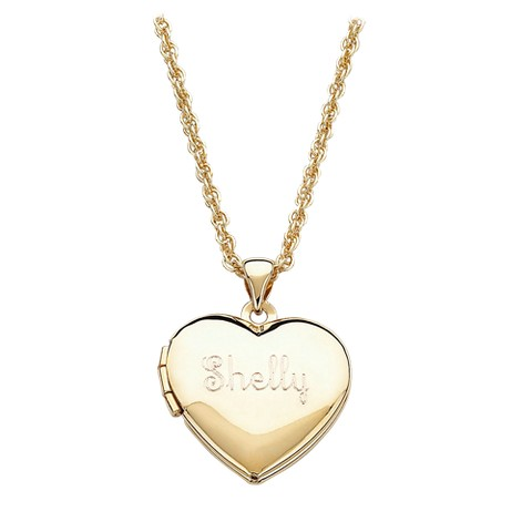 Personalized Gold-Plated Heart Engraved Locket Pendant
