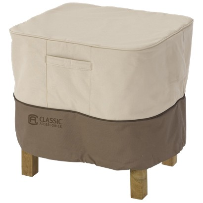 Patio Ottoman/Side Table Cover - Beige/Brown