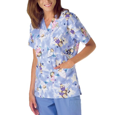 Medline Angel Print Ladies Scrub Top