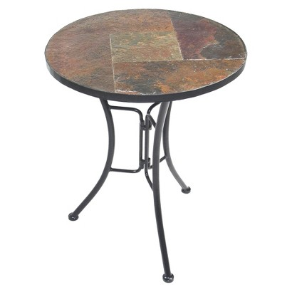 4D Concepts Slate Round Top End Table - Brown/Black