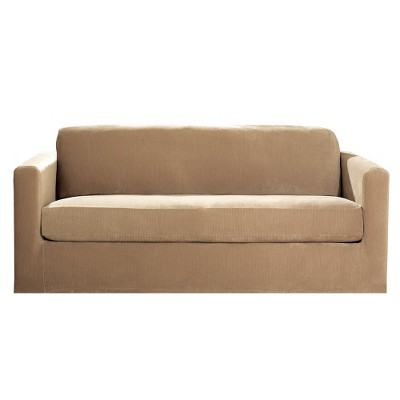 Sure Fit Stretch Rib 2 Piece Sofa Slipcover - Beach House Tan