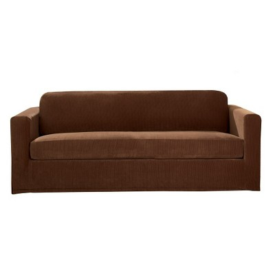 Sure Fit Stretch Rib 2 Piece Loveseat Slipcover - Oar Brown