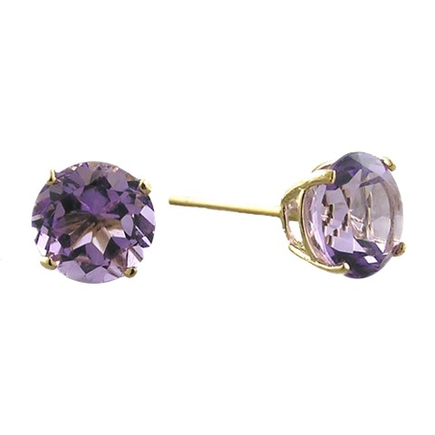 10K 6mm. Yellow Gold Amethyst Stud Earrings