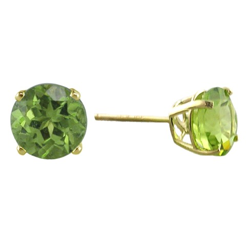 10K 6mm. Yellow Gold Peridot Stud Earrings