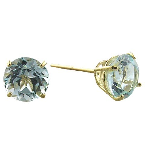 10K 6mm. Yellow Gold Blue Topaz Earrings
