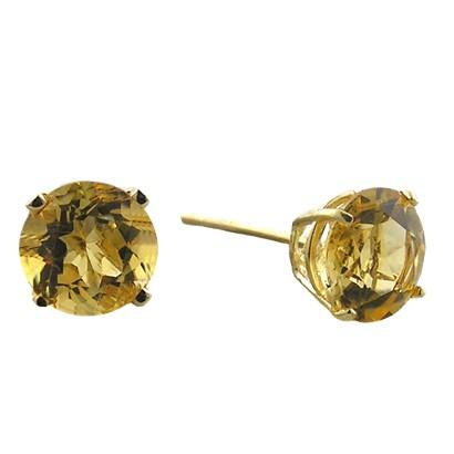 10K 6mm. Yellow Gold Citrine Earrings