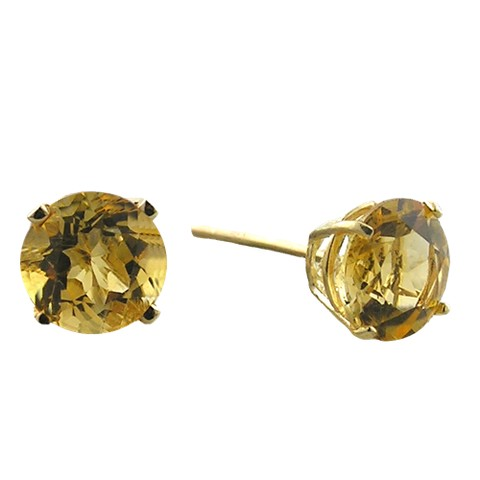10K 6mm. Yellow Gold Citrine Earrings