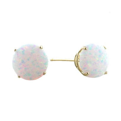 10K 6mm. Yellow Gold Synthetic Opal Earrings