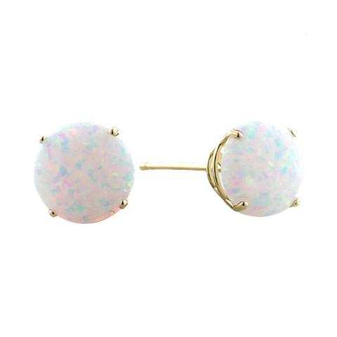 10K 6mm. Yellow Gold Synthetic Opal Earrings